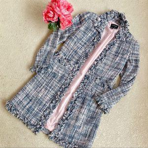Vintage Tweed Pink & Blue Trench Coat